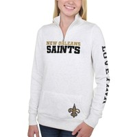 Women's New Orleans Saints PINK by Victoria's Secret White Half Zip Fleece Sweatshirt