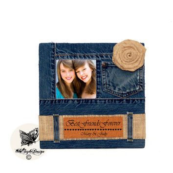 Picture Frame Personalized Frame Personalized Picture Frame Photo Frame Photo Holder Denim Frame Denim Picture Frame Jeans Frame Jeans Decor