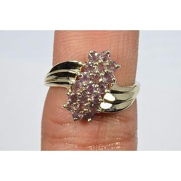 10k Yellow Gold 1.0 ct Purple Jade Cluster Ring Round THL Not Enhanced Size 7