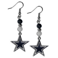 Dallas Cowboys Fan Bead Dangle Earrings