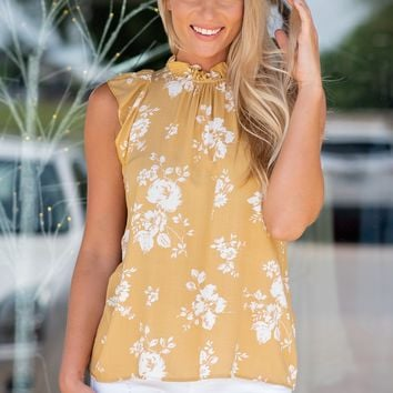 Why Deny It Ruffle Neck Top : Mustard