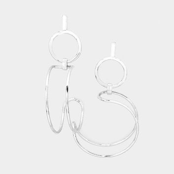 "3"" circle dangle double hoop earrings pierced"