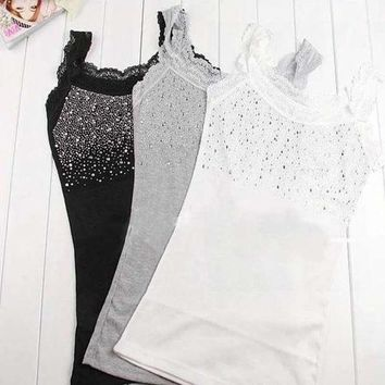Z101'girl Women's Rhinestone Sequin Lace Tank Top Sling Camisole Cami Shirt Vest Slim