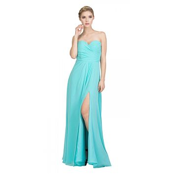 Starbox USA 6425 Strapless Long Bridesmaid Dress with Slit Tiffany Blue