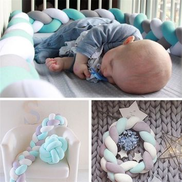 3M/2M  Knot Baby Bed Bumper Weaving Plush Infant Knot Pillow Cushion,Nursery Bedding,Cot Room Dector