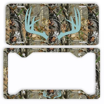 Blue Antlers Camo Deer License Plate Frame Car Tag Country Hunting