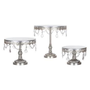 3-Piece Crystal Cake Stand Set (Silver)