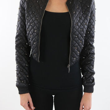 Vegan Leather Quilted & Studded Jacket