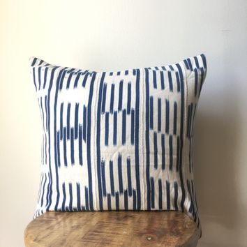 Blue Antique / Vintage Baoule - Mud Cloth Pillow Cover -  Hand Made African Fabric