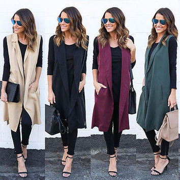 New Arrivals Fashion Women Casual Sleeveless Long Trench Duster Coat Cardigan Suit Vest Waistcoat