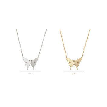 Silver 2015 Gold and Silver Fashion Cute Butterfly Pendant Elegant Necklaces for Women Simple Animal Women Long Necklace N169