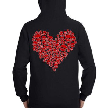 Red Glitter Heart Skulls Zip Up Hoodie Sweatshirt Black S M L XL Plus Size 1x 2x 3x 4x 5x