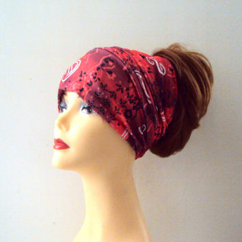 Red Paisley Head Band  Women Yoga Fitness Workout Running Dancing Beach Tube Bandana Earwarmer Cowl Rasta Dreadlock Extra Wide Head Band