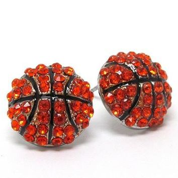Crystal 'Bling' Basketball Stud Earrings