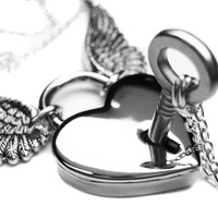 Angel Wing Necklace Set. Engraved Winged Heart Lock Necklace. Couples Wedding Silver Skeleton Key Boyfriend Girlfriend Lovers Padlock