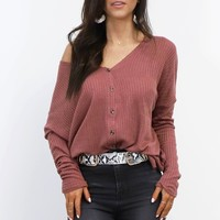 The Comeback Dark Mauve Waffle Knit Top