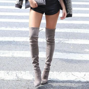 Womens Stretch Slim Suede Over the Knee Boots Thigh High Boots Sexy Fashion High Heel