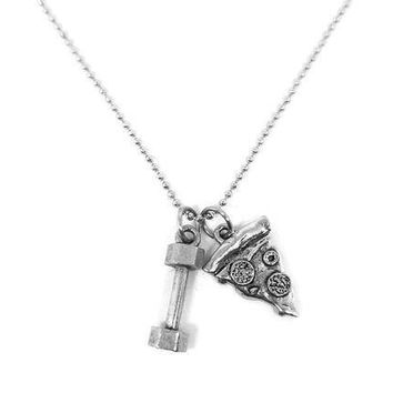 Will Lift For Pizza Dumbbell Pizza Necklace