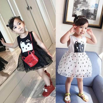 Toddler Infant Baby Girls Cat Print Sleeveless Cartoon Yarn Tutu Dress Sundress