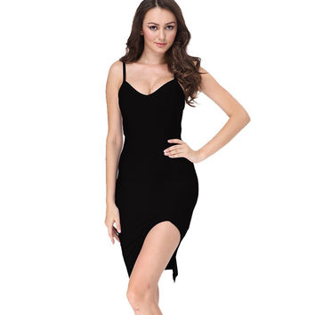 Sleek Split Mini Black Bandage Dress