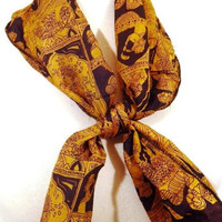 Black and Gold Silk Neck Scarf
