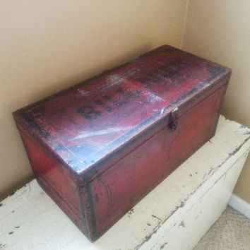 Antique Red Wood Tool Box Old Red Trunk Style Box Distressed Finish