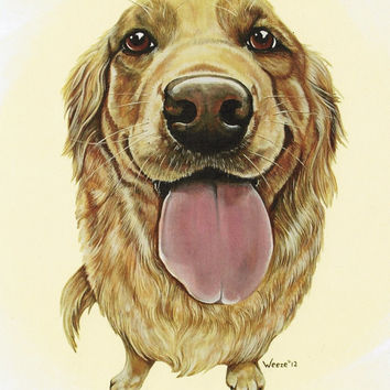 Golden Retriever Art - Golden Retriever Print - Goldens - Pet Portrait - Dog Pop Art - Whimsical Dog Art - Wall Decor - Weeze Mace - 8x10