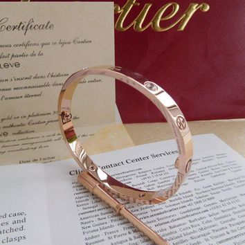 One-nice? New Authentic CARTIER Love 18k Rose Gold/4 Diamonds Bracelet Size 19!@%%