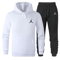 JORDAN Fashion Men Women Warm Hooded Top Sweater Pants Set Two-Piece Sportswear White