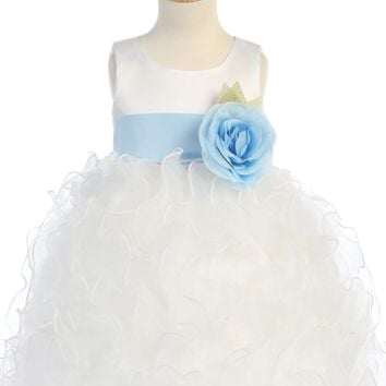 White Satin & Ruffled Organza Flower Girl Dress w. Sash 12m-12
