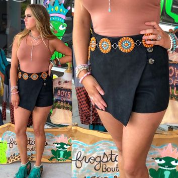 Suede wrap button skort (other colors)