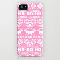 Ho Ho Ho Pink Ugly Xmas Sweater Pattern iPhone & iPod Case by RexLambo