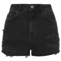 MOTO Black Ripped Mom Shorts - Triple Denim - We Love