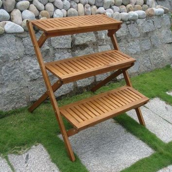 Outdoor Acacia Three-Layer Plant Stand with Teak Finish by Vifah