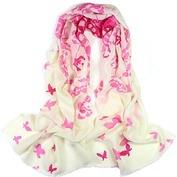 Dahlia Women's 100% Merino Wool Pashmina Scarf - Butterfly and Flower