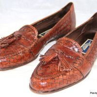 COLE HAAN BRAGANO Loafers Slip on Brown Tassel Woven Italy Mens Size 10 M