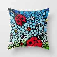 Joyful Ladies - Charming Lady bugs by Labor of Love artist Sharon Cummings Throw Pillow by Sharon Cummings