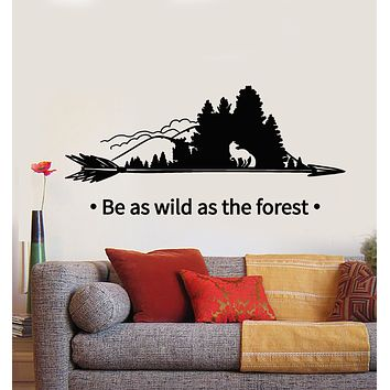 Vinyl Wall Decal Phrase Forest Trees Nature Wild Fox Arrow Stickers Mural (g2707)
