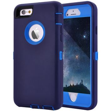 "Maxcury Crosstreesports iPhone 6 Case iPhone 6s Case Heavy Duty Shockproof Series Case for iPhone 6/6S (4.7"")-V2 with Built-in Screen Protector Compatible with All US Carriers - Navy and Blue"