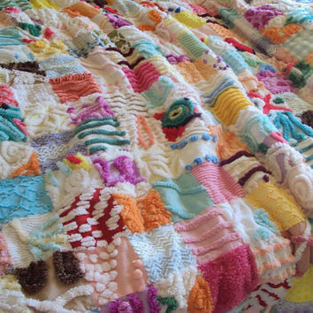 Gorgeous large vintage chenille quilt, I Dream in Color, twin, daybed, large throw