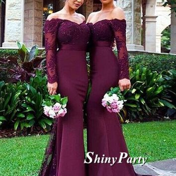 Off Shoulder Maroon Long Sleeves Lace Prom Dresses, Burgundy Lace Bridesmaid Dresses, Formal Dresses
