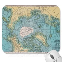 Vintage Map of the Arctic Mousepad from Zazzle.com