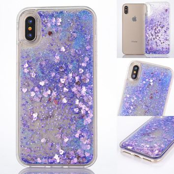 Dynamic Liquid Glitter Sand Soft TPU Case For iPhone X Cover Quicksand Mobile Phone Shell