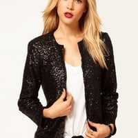 Long Sleeve Sequins Open front Blazer - NOVASHE.com