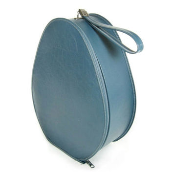 Vintage Tote Suitcase / Small Blue Suit Case / Luggage for Home Decor or Storage / Carry On