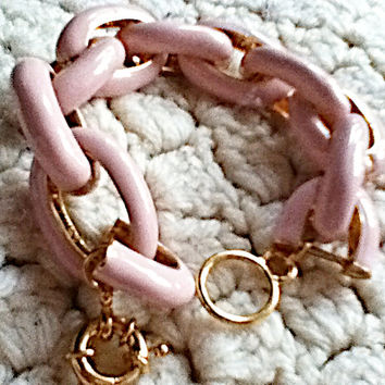 Chunky Exaggerated Pale Pink Link Chain Bracelet Statement Gold Stackable Crew J Style Palm Beach Luxury New 2015 Girl Teen Women Monogram