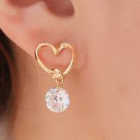 Gold Plated Dangle Heart Earrings With Austrian Crystals
