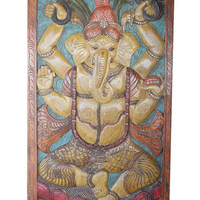 RESORT DESIGN Chakra Ganesh Vintage Hand Carved India Door Panel Zen Yoga Meditation Decor Uniq Eclectic Conscious Grounding