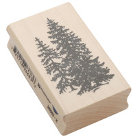 "Inkadinkado Mounted Rubber Stamp 2.5""""X1.5""""-Pine Trees"