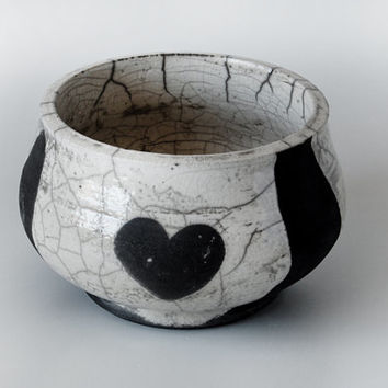 White Crackle Raku Bowl /  Decorative Bowl / White Ceramic Bowl